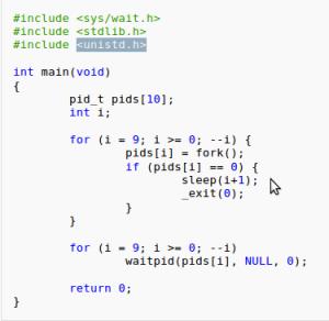 کد ایجاد پروسه زامبی (zombie process)